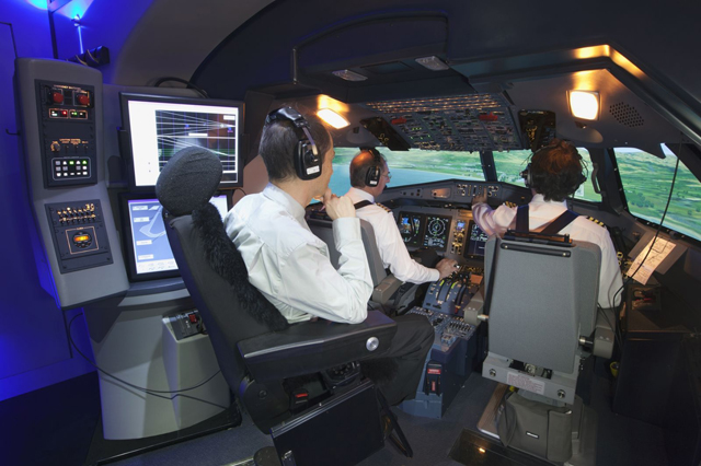 Pilots Training in Flight Simulator