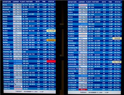 arrival board for airlines
