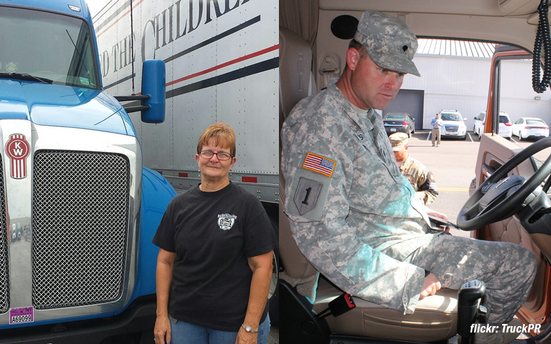 Military member and female truck driver