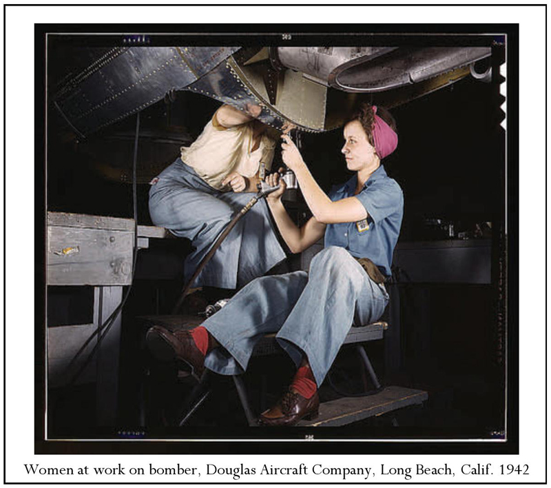 Women at work on an aircraft